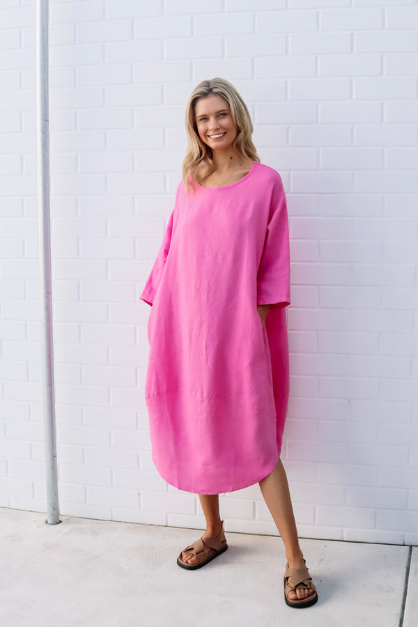 kiitos hot pink tulip dress