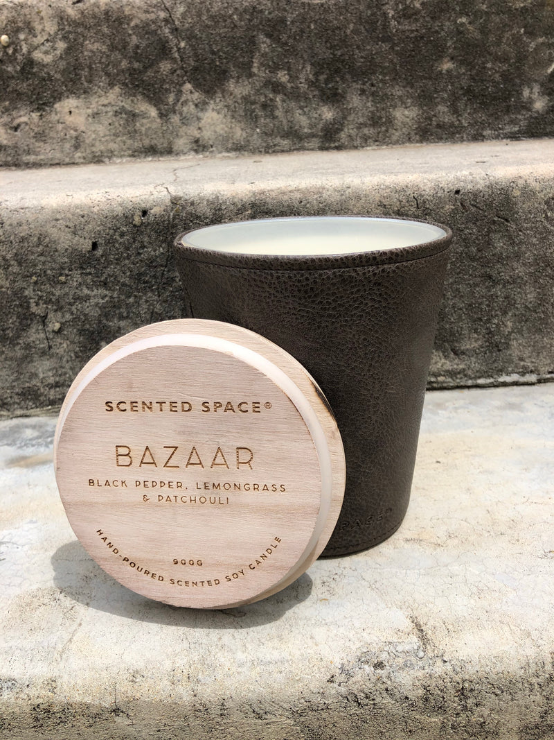 scented space bazaar leather candle