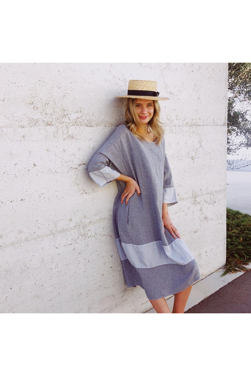 kiitos linen tulip dress stripe grey