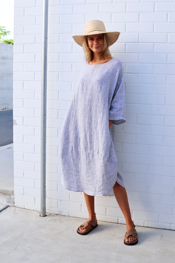 kiitos linen tulip dress stripe