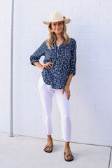 ivy & isabel caprice shirt navy diamond