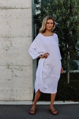 kiitos tulip dress white, beige, ice