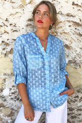 ivy & Isabel caprice  shirt  - self spot pale blue