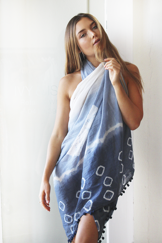 cotton sarong blue