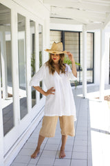 ivy & isabel burleigh linen tunic white