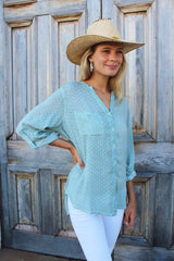 ivy & isabel caprice shirt pale green spot