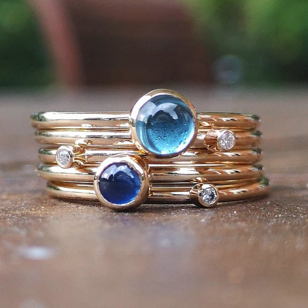 Sapphire gold birthstone stacking rings