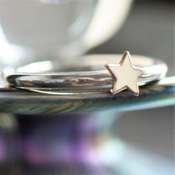 Gold Star Stackable Luna Ring