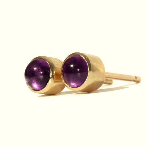 February Amethyst Birthstone gold handmade stud earrings
