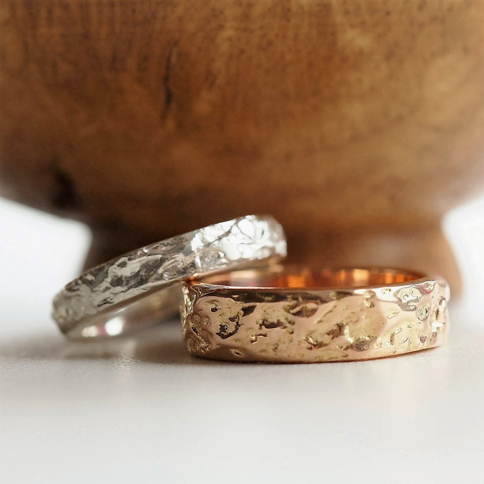 Solid gold and silver Treasure textured designer wedding rings