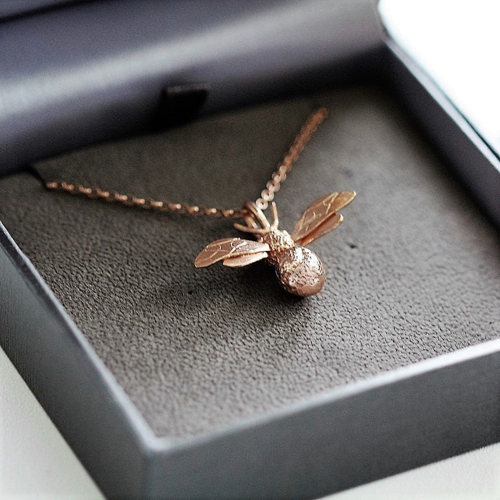 handcrafted deep textured rose gold bee necklace