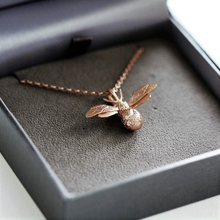 rose gold bee totem handmade necklace