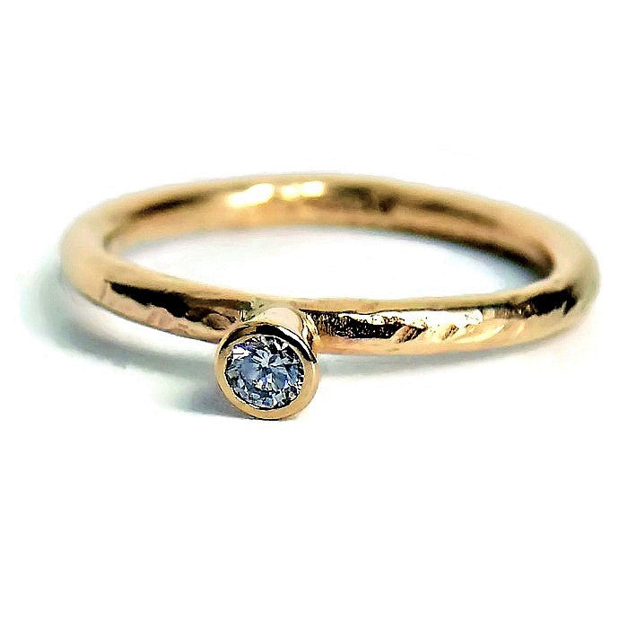 handmade textured gold diamond ring band with tool marks