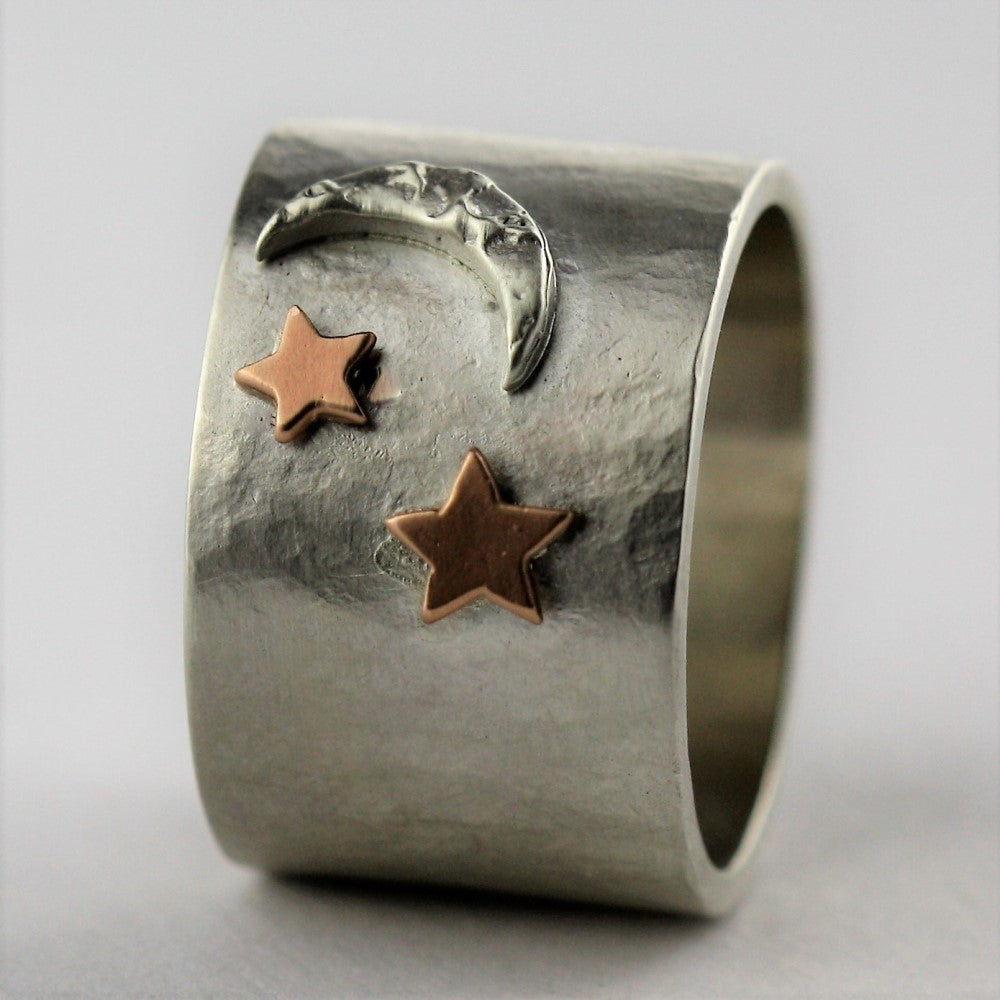 Luna star and moon wide rustic ring