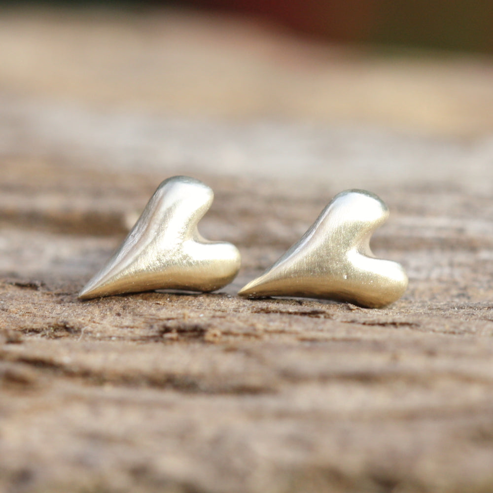 9ct solid gold wild at heart handmade studs