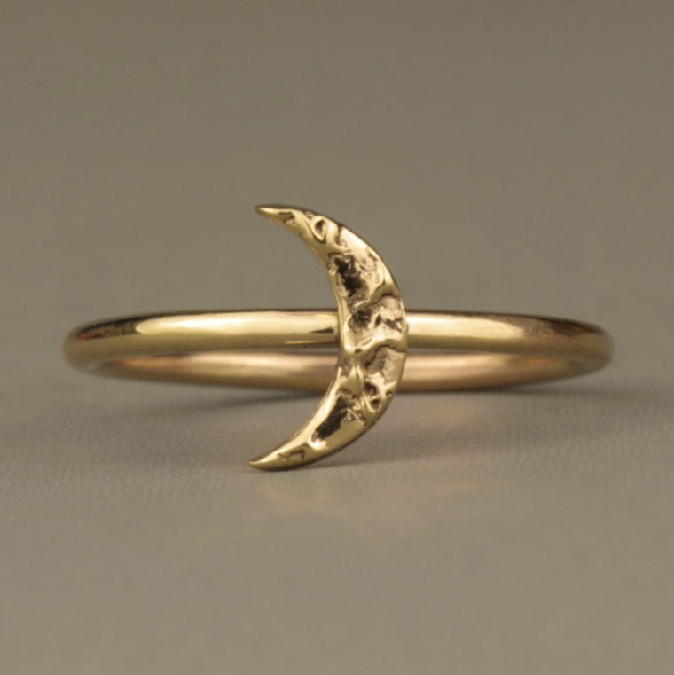 designer textured solid 9ct gold moon ring