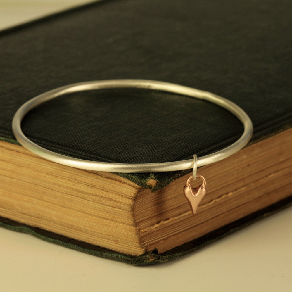 9ct gold heart silver bangle