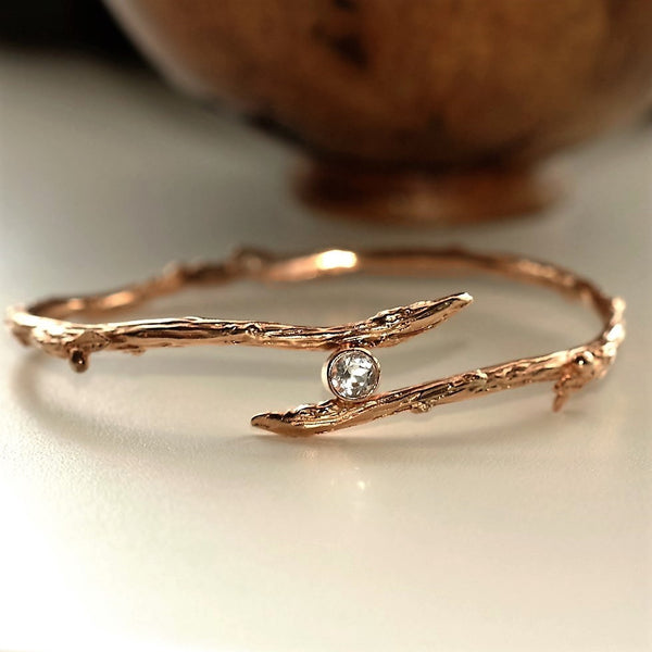 White Topaz handmade rose gold twig bangle