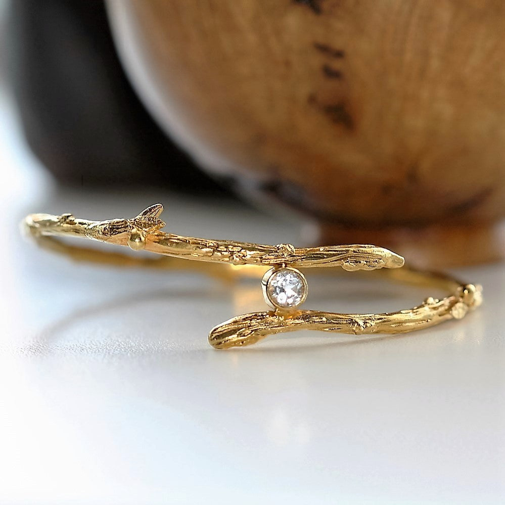Gold White Topaz Twig Branch Unusual Designer Bangle