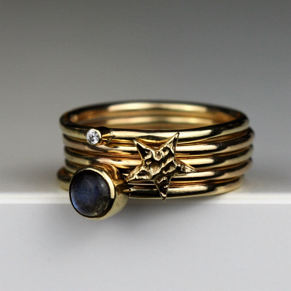 designer labradorite diamond and textured gold stacking ring
