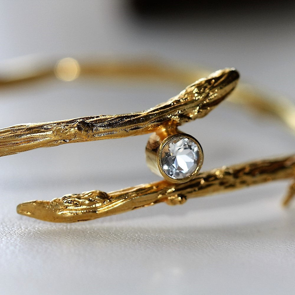 white topaz gold twig designer bangle
