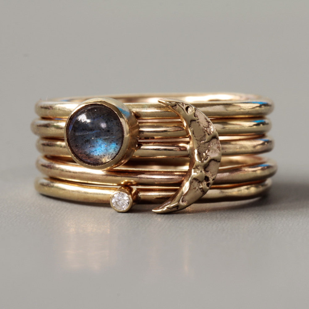 Contemporary Labradorite, Moon and diamond Stacking Ring Set