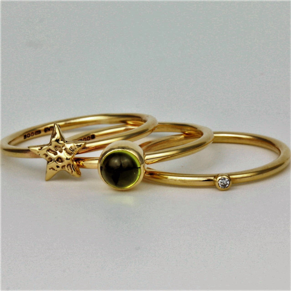 Peridot, diamond and gold star handmade stacking rings