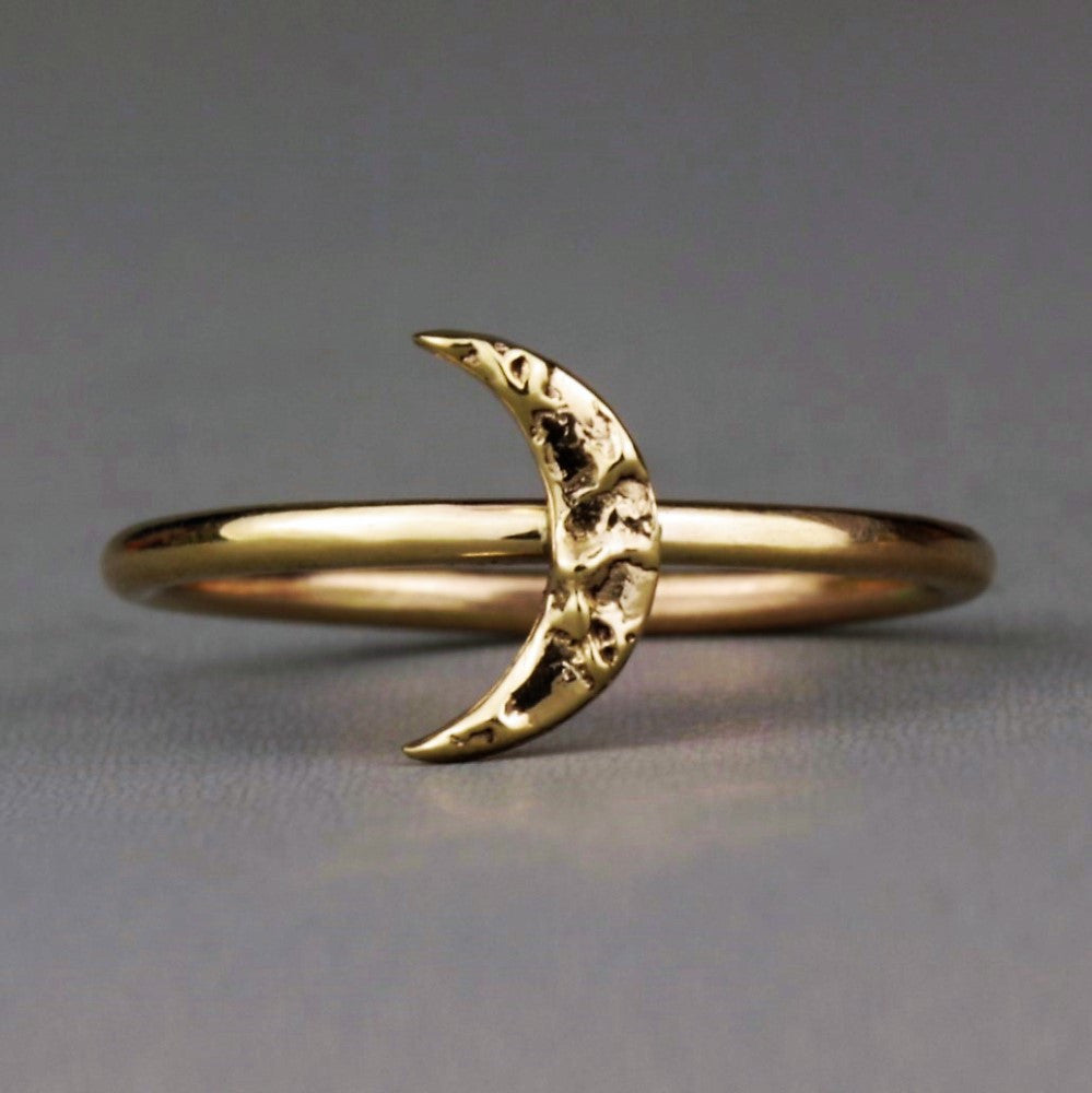 Solid gold textured stackable moon ring