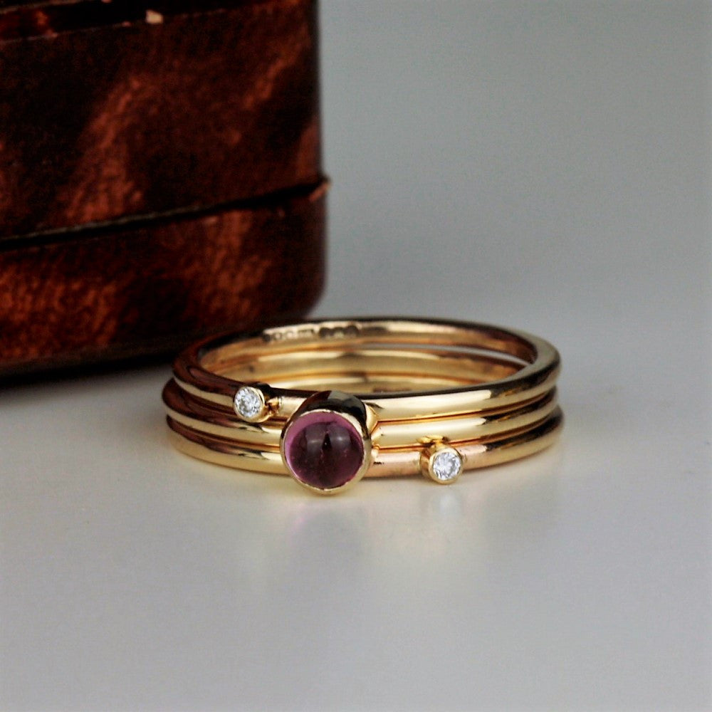 wild flower pink tourmaline and diamond mini stacking ring