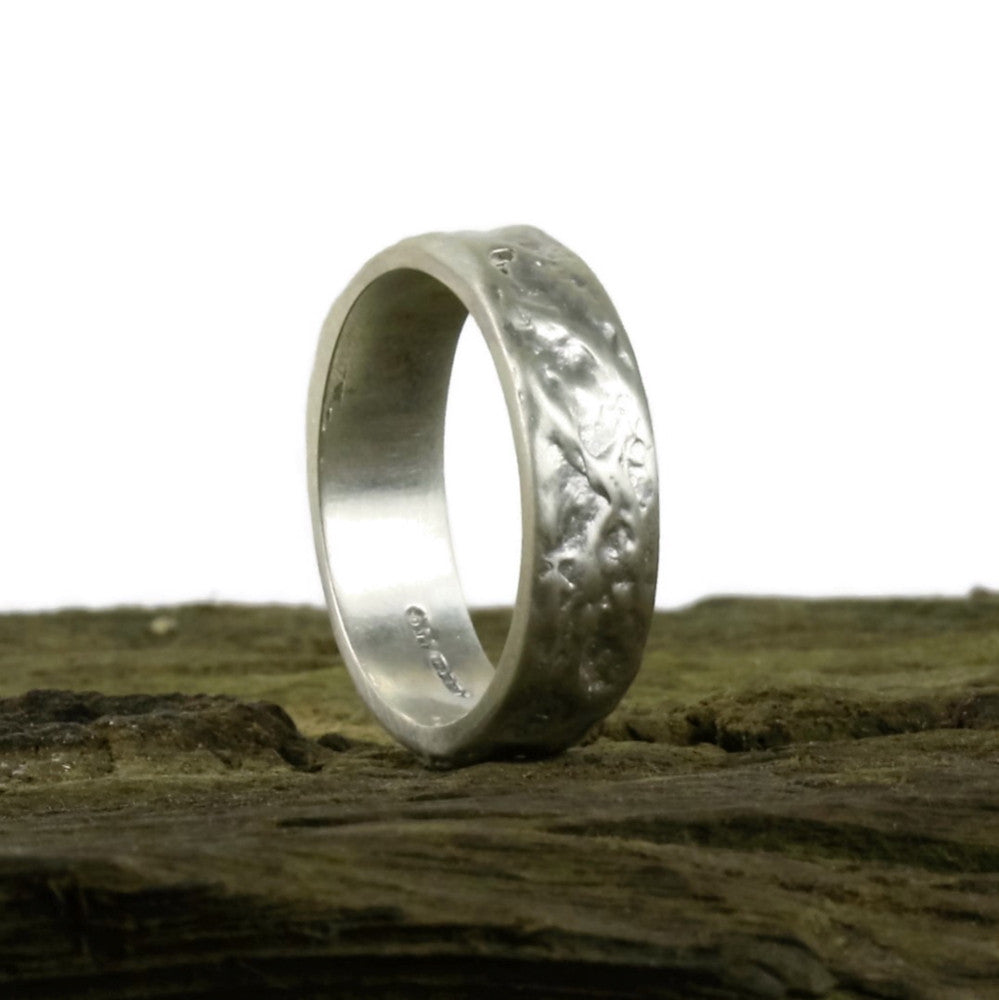 White Gold Wide Treasure Wedding Ring With Unique Texture
