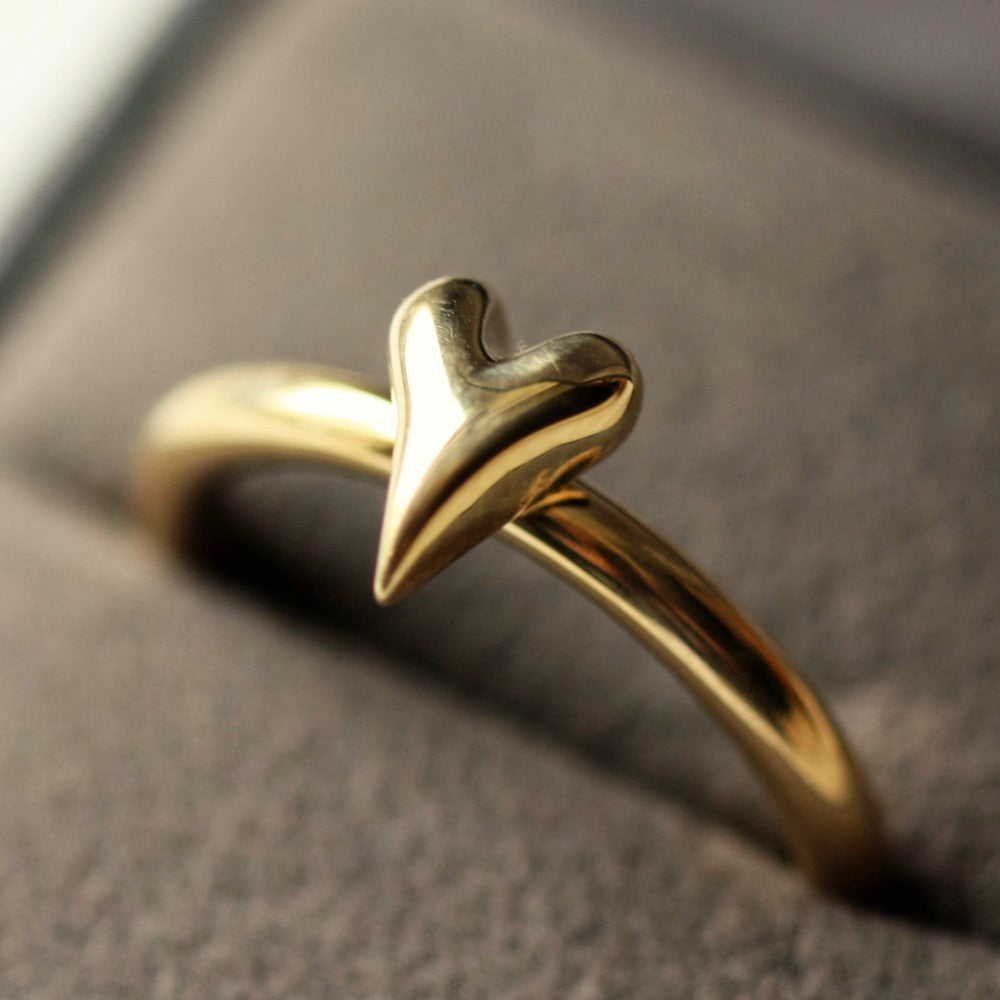Chunky Solid Gold Heart Ring