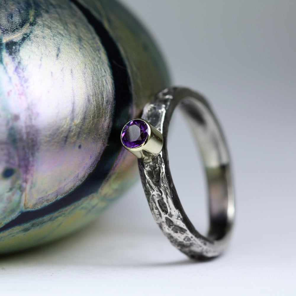 Amethyst silver and gold treasure ring