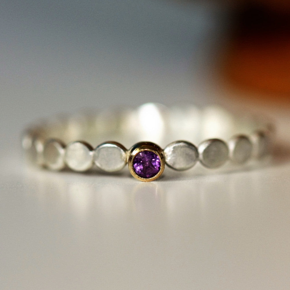 Amethyst birthstone February silver and gold slim ring