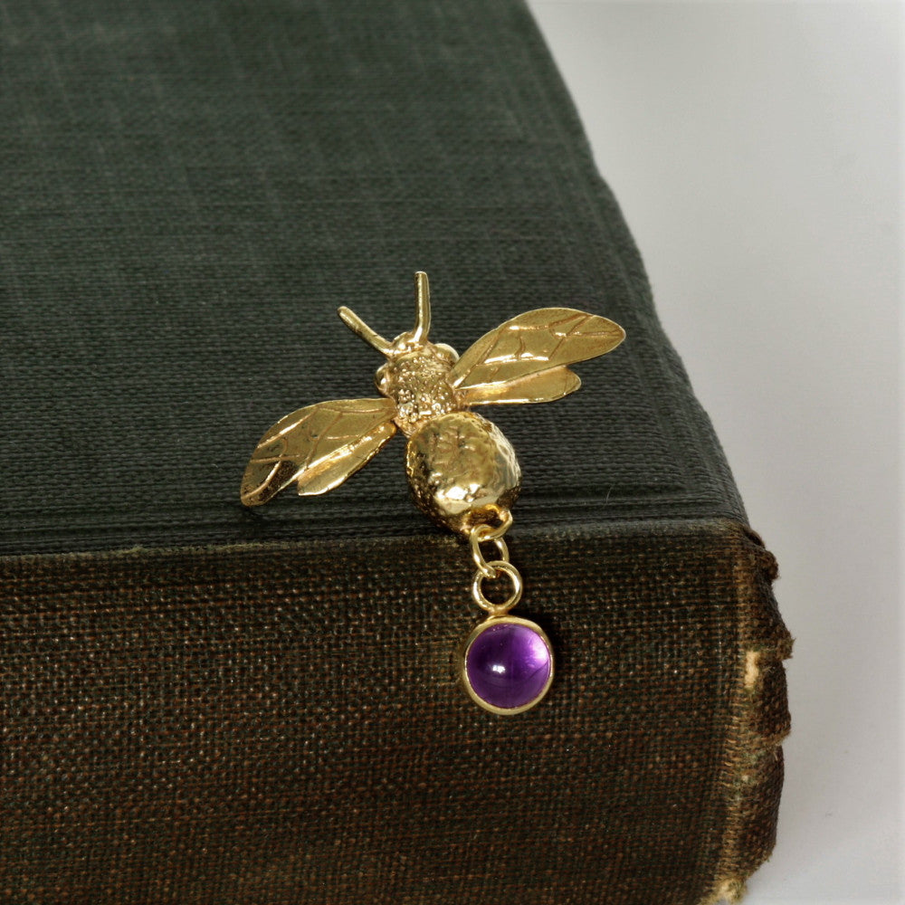 February birthstone Amethyst bumblebee yellow gold brooch pin