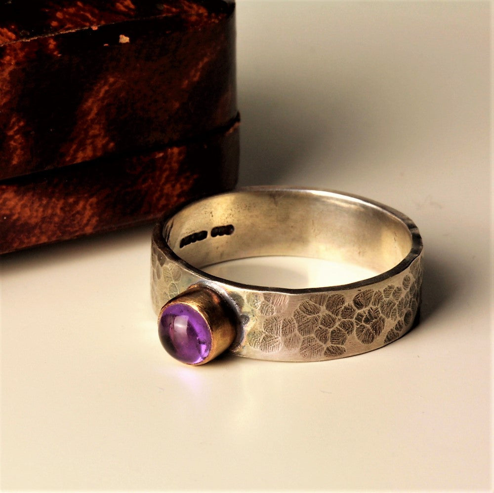 Wide Amethyst blossom silver and gold hammered ring