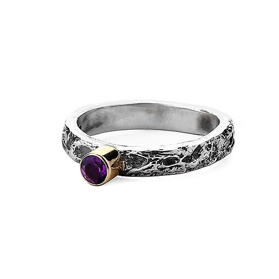 4 mm Amethyst Gemstone, Silver and god textured Treasure ring