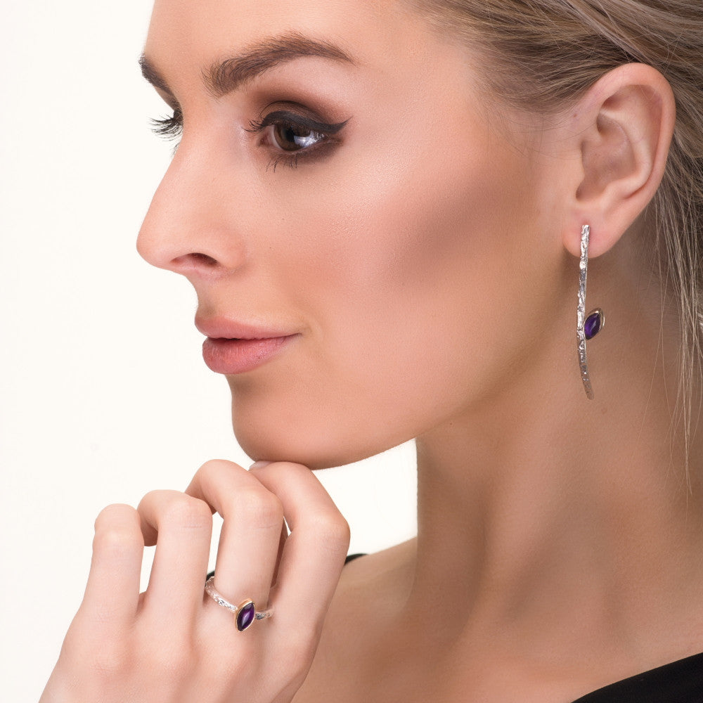 Matching Amethyst Silver and Gold Luxury Treasure Designer Earrings