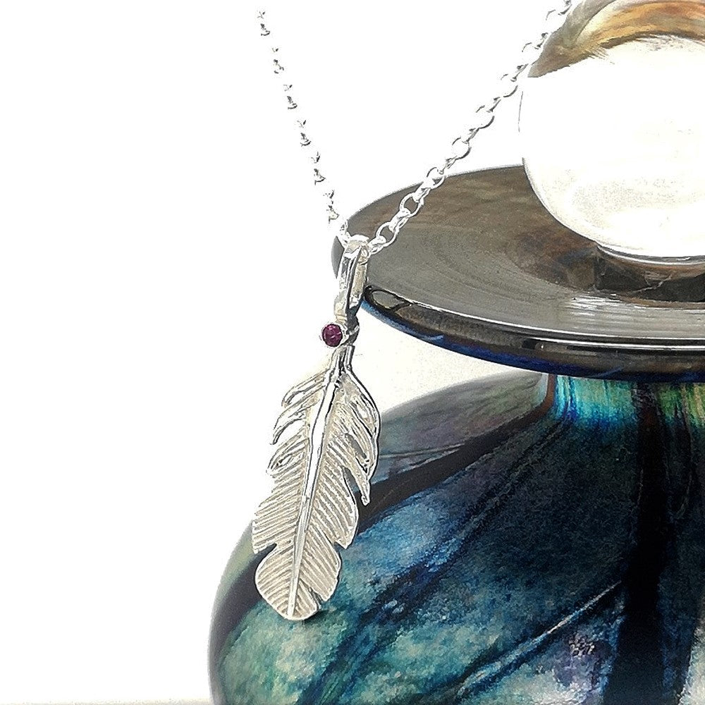 Pink Tourmaline Birthstone Feather necklace