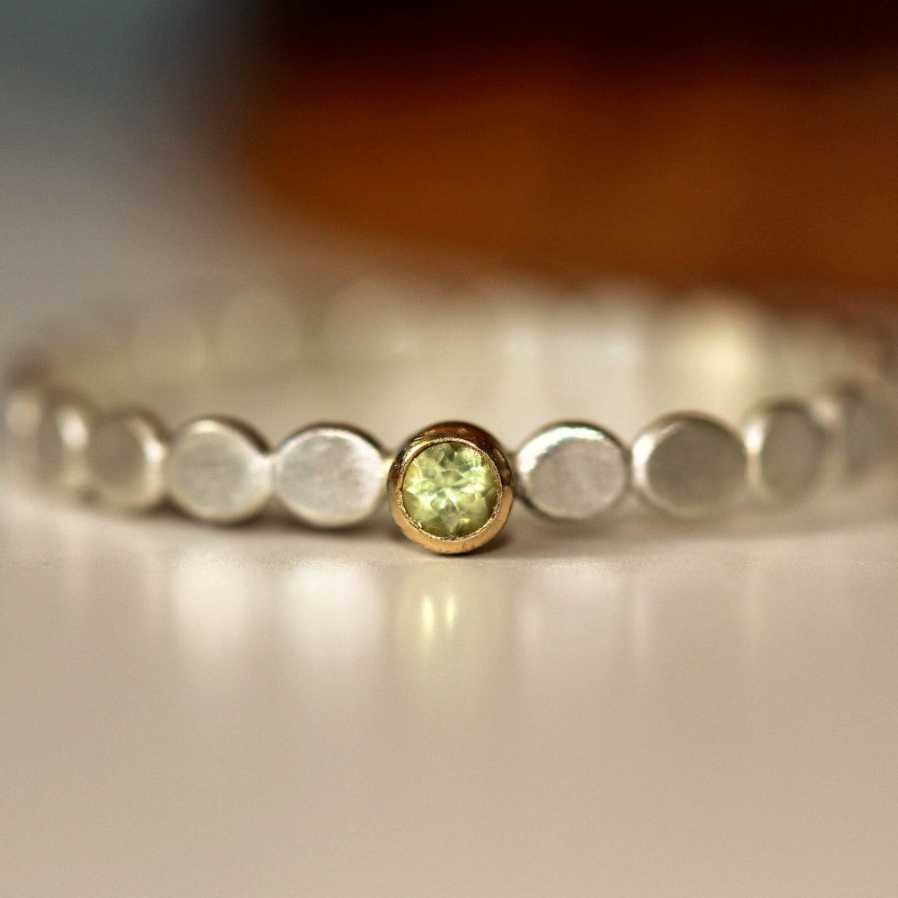 August Peridot birthstone silver and gold pebble ring