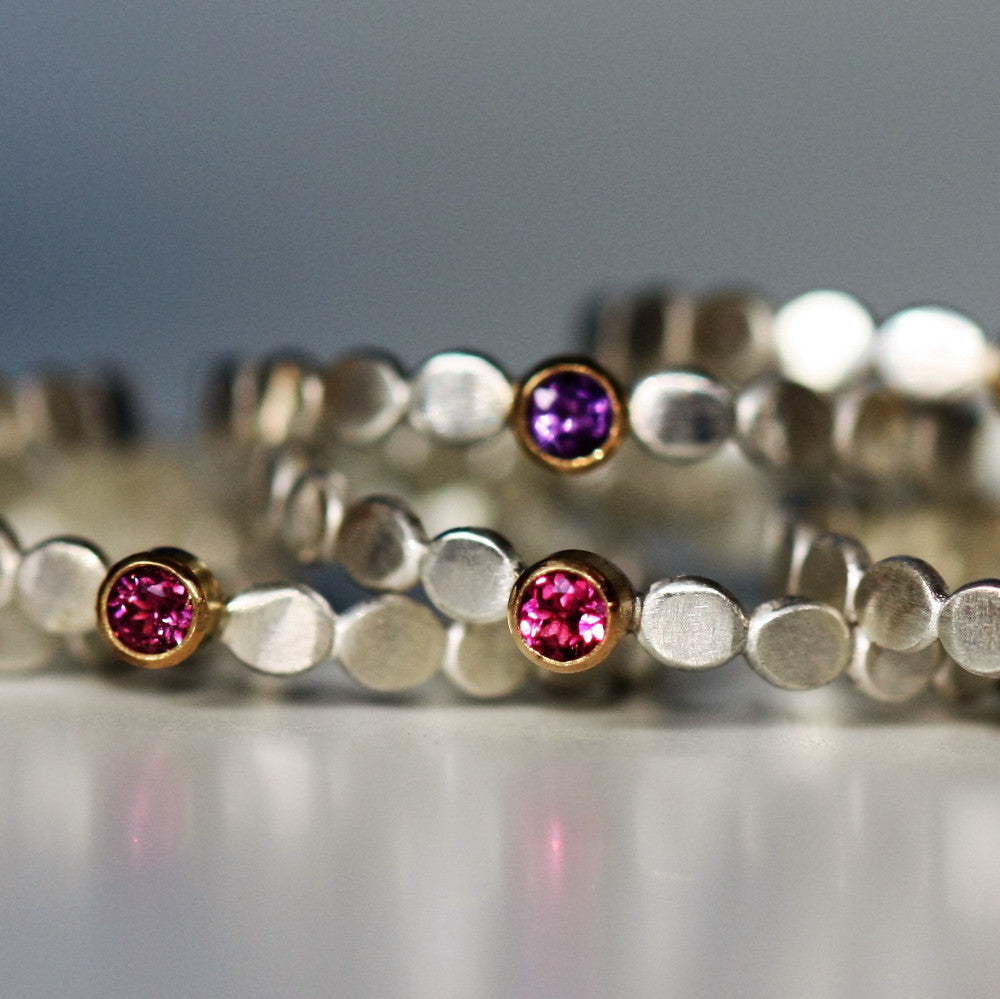 delicate silver and gold designer gemstone stacking rings