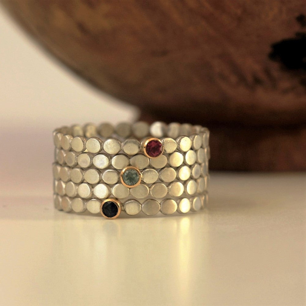 Handmade teeny birthstone silver and gold stacking rings