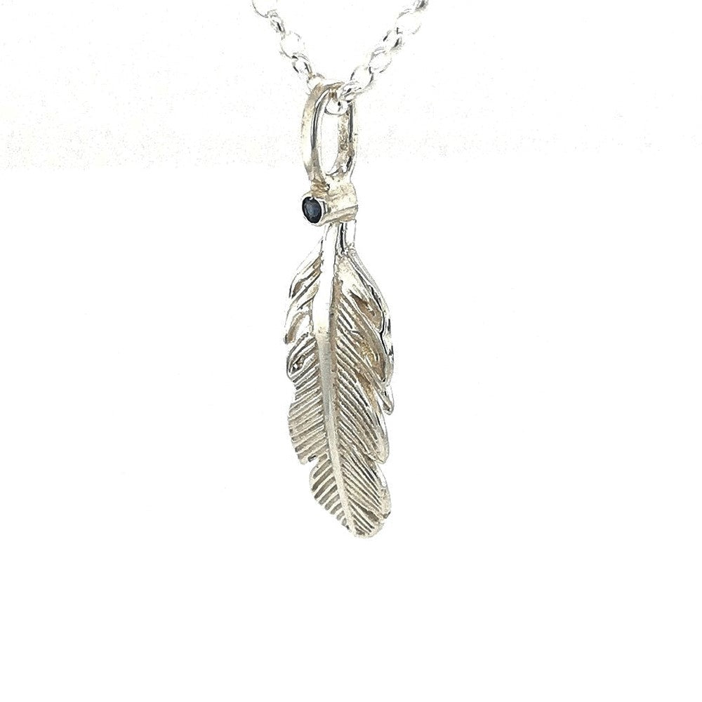 Angel Feather birthstone silver necklace
