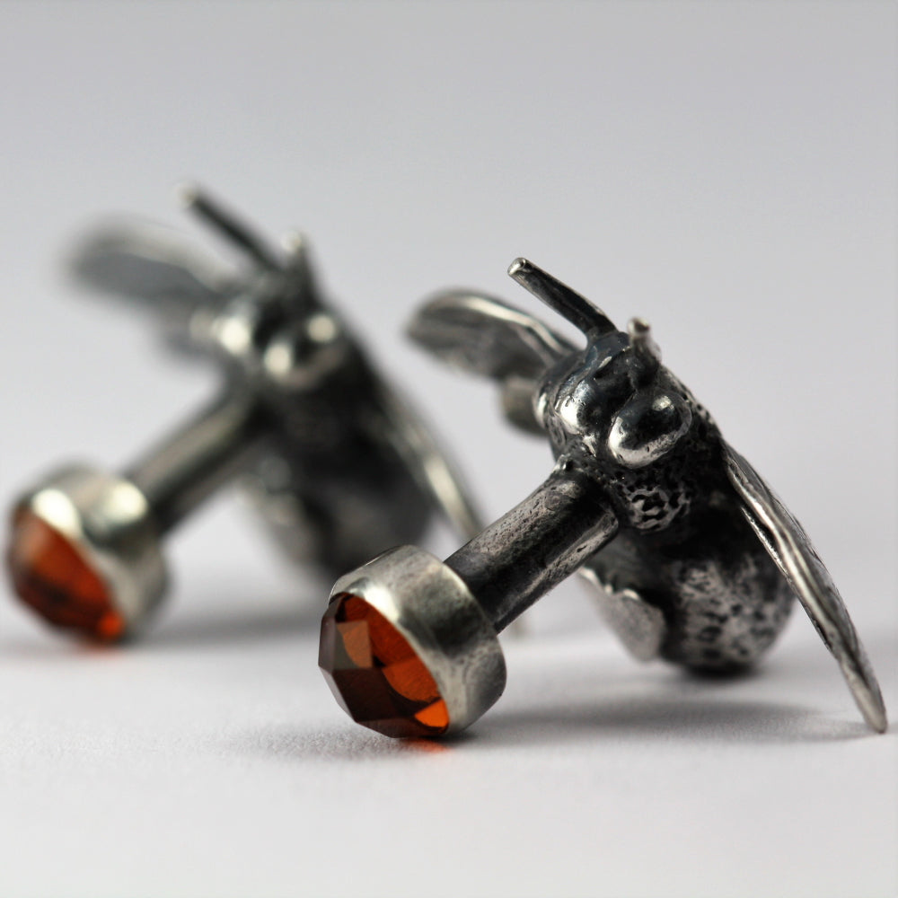Unusual Citrine and Bumble Bee silver cuff links