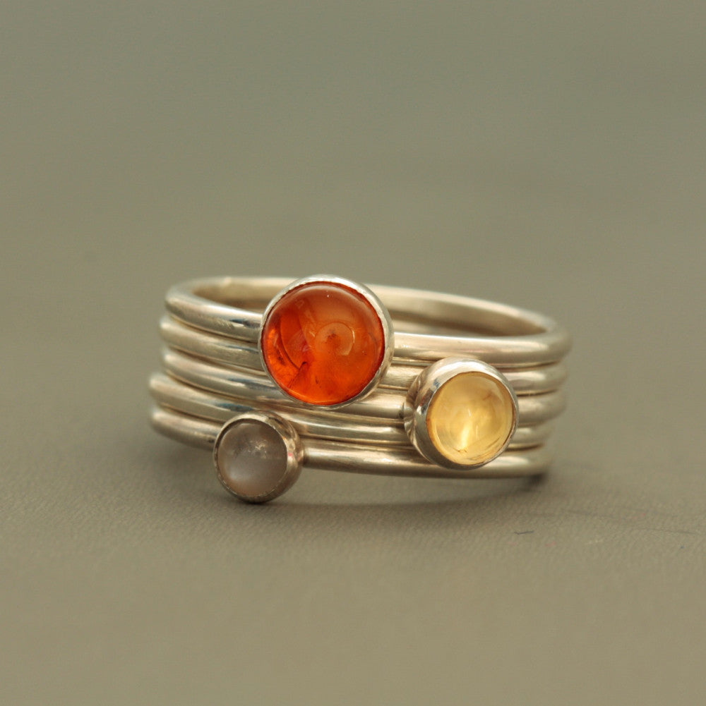Sunrise citrine, moonstone and amber silver stacking rings