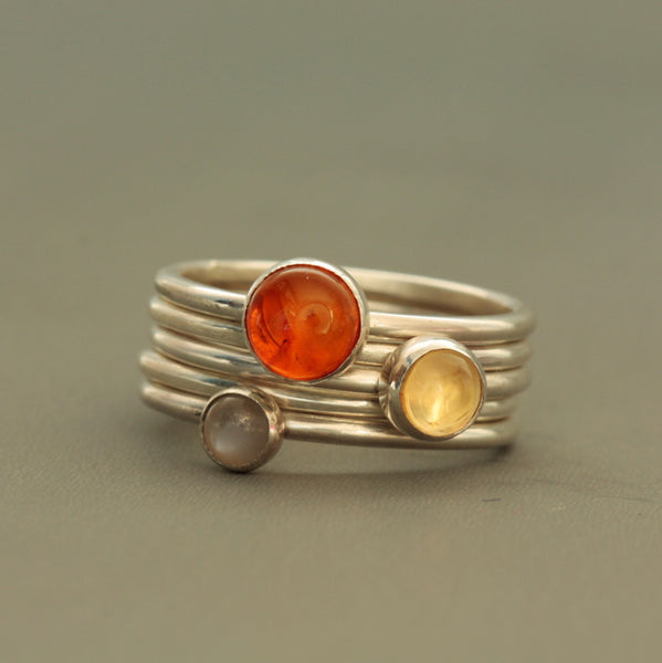Grey moonstone, Amber ad citrine stacking ring