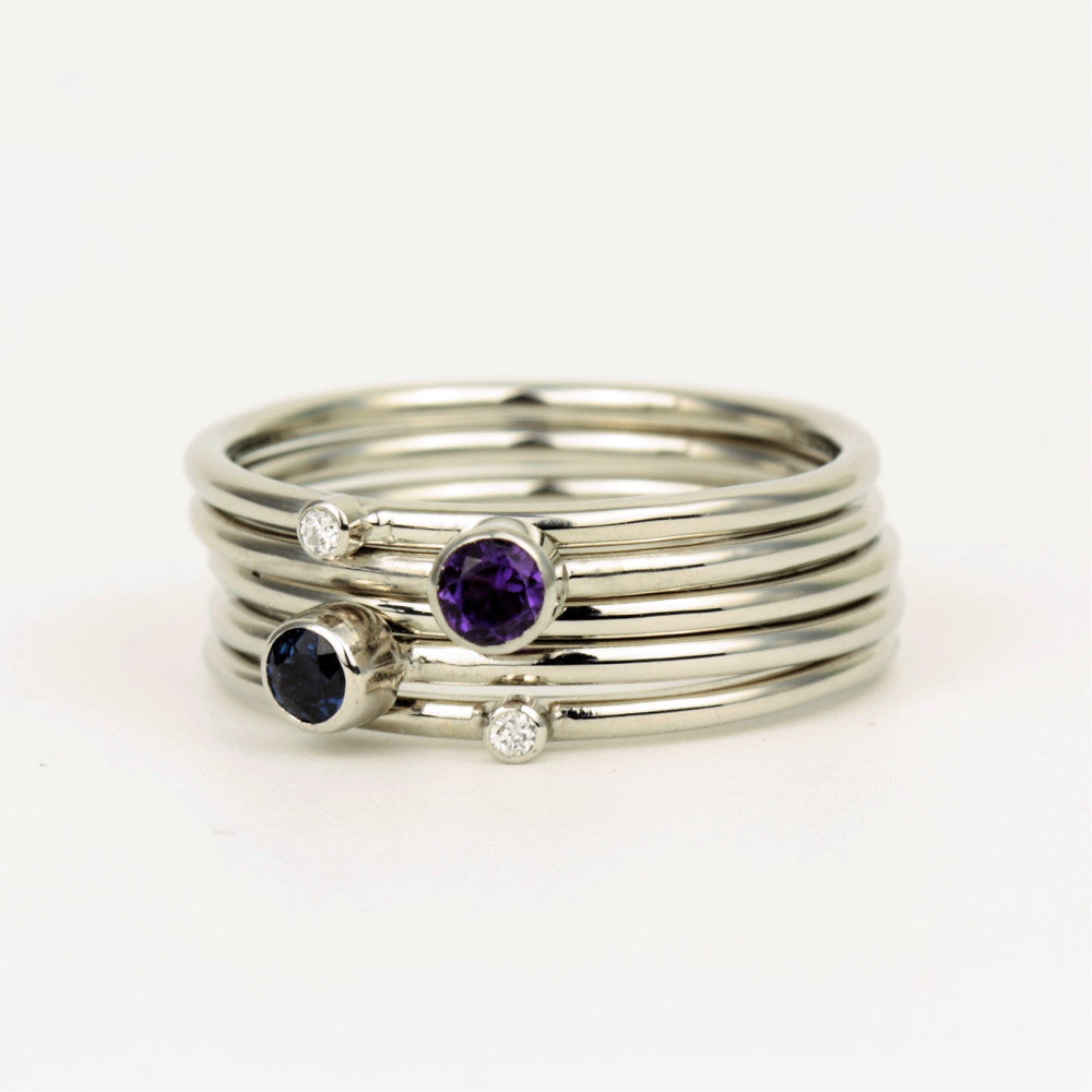 Unique Platinum Gemstone and Diamond Stacking Ring
