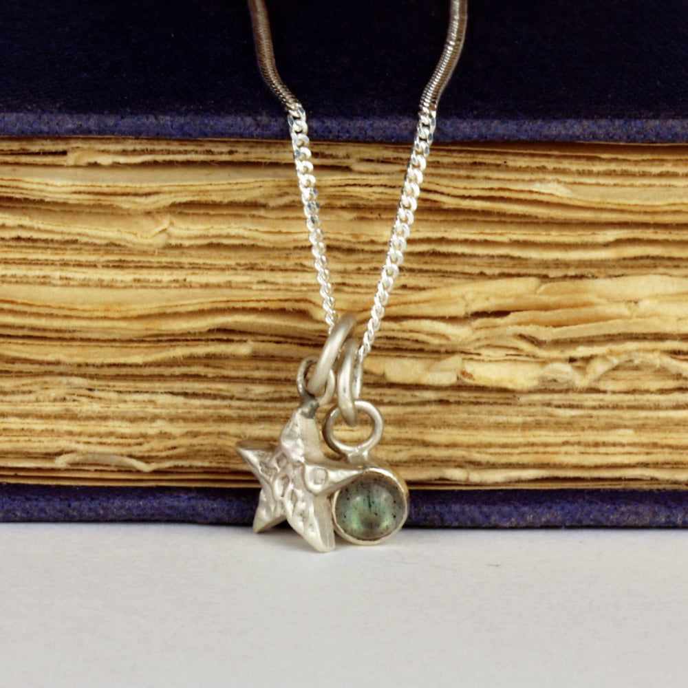 Dainty silver moon and 4 mm Labradorite gemstone necklace