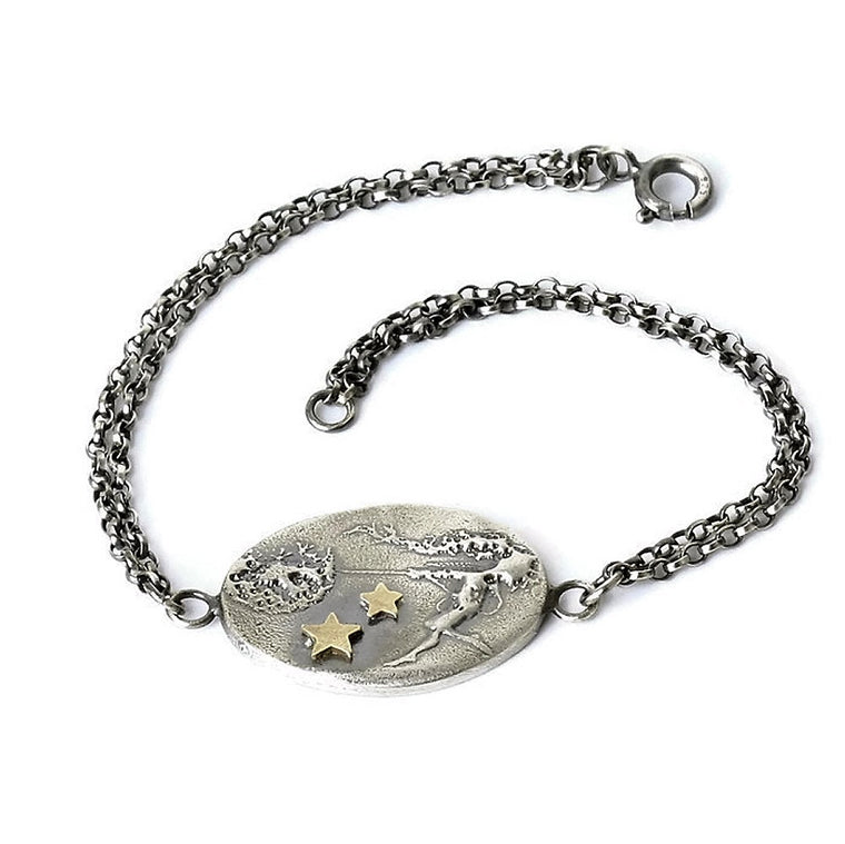 Sterling silver whimsical dancing with dandelions fairy bracelet with 9ct gold stars