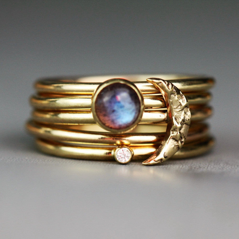 Gold moon and diamond gemstone stacking ring set