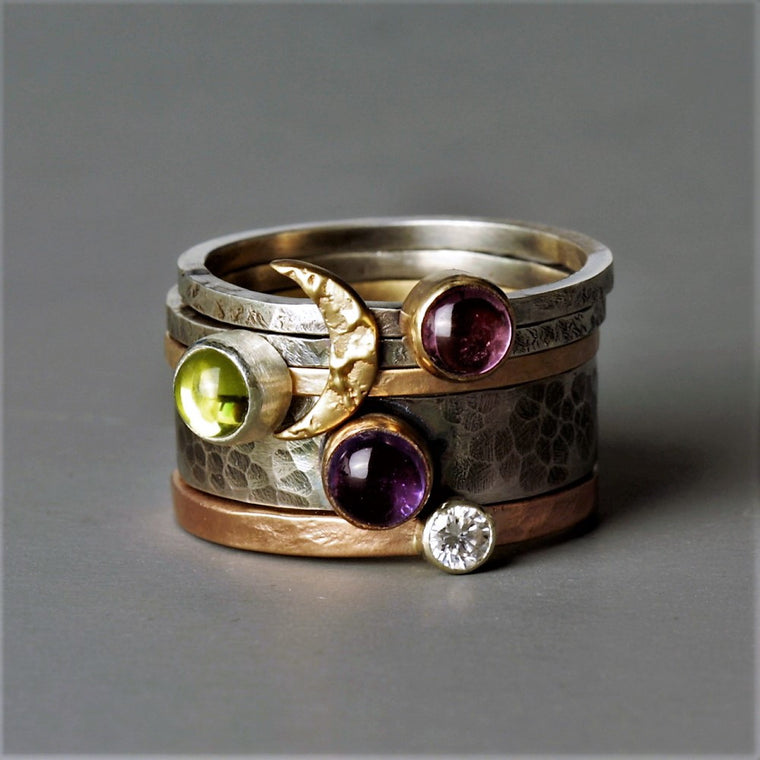 statement mixed metal silver and gold blossom moon ring